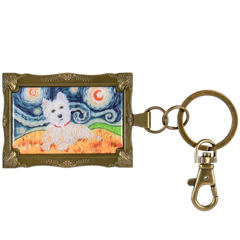 West Highland Terrier Van Growl Framed Keychain