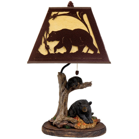 Bears Lounging On Tree Metal Shade Lamp