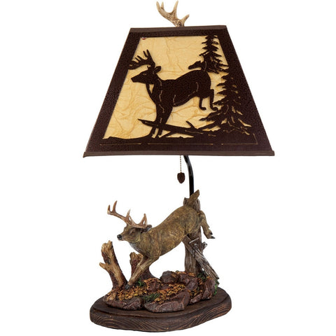 Deer Jumping Metal Shade Lamp