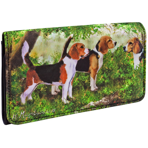 Beagles Standing in Forest Checkbook Wallet