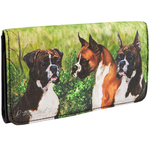 Boxers Standing in Yard Checkbook Wallet