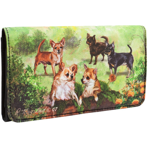 Chihuahuas in Garden Checkbook Wallet