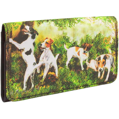 Jack Russells Playing Around Trees Checkbook Wallet