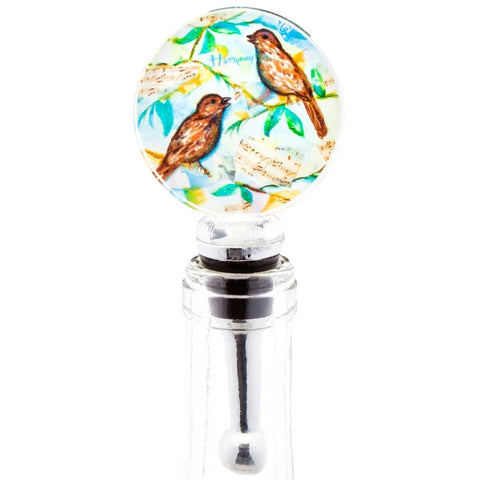 Sparrows Harmony Blown Glass Wine Bottle Stopper
