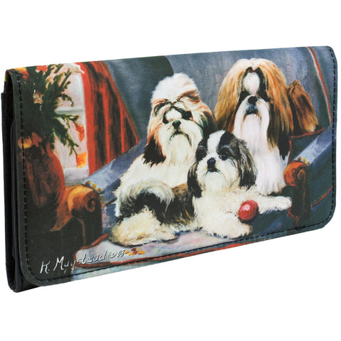 Shih Tzus on a Chair Checkbook Wallet