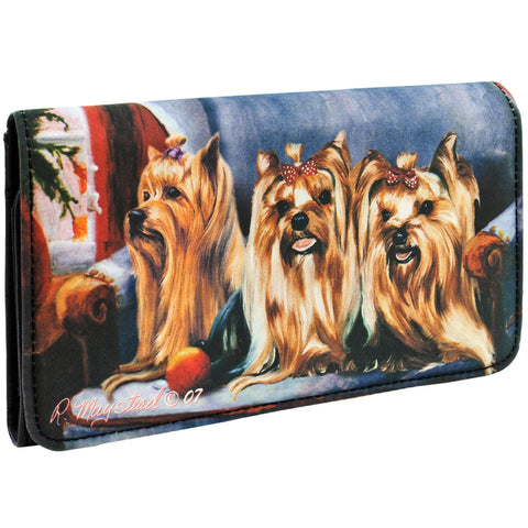 Yorkshire Terriers Sitting on A Chair Checkbook Wallet