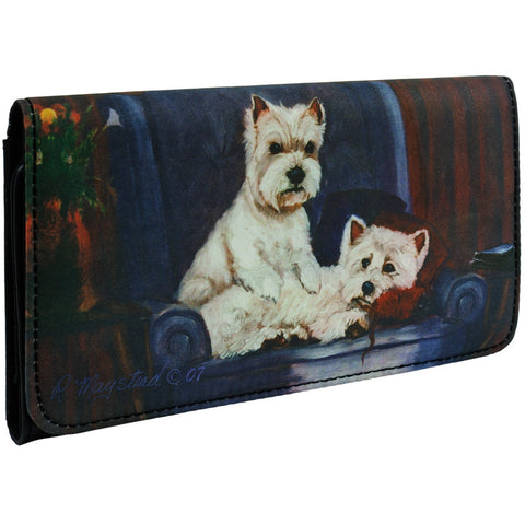 West Highland Terriers on a Chair Checkbook Wallet