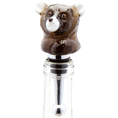 Black Bear Sitting Blown Glass Wine Bottle Stopper
