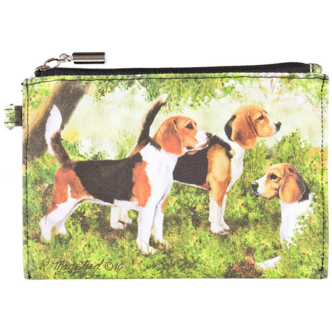 Beagles Standing in Forest Zippered Pouch