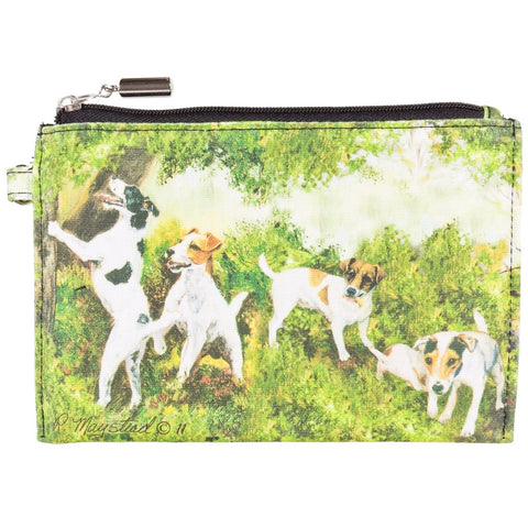 Jack Russells Playing Around Trees Zippered Pouch