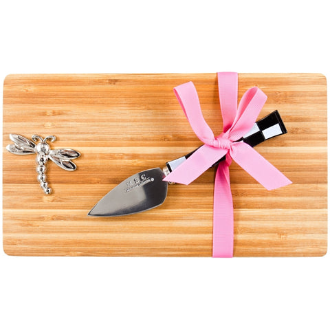 Dragonfly Flying Emblem Cutting Board With Checkered Knife
