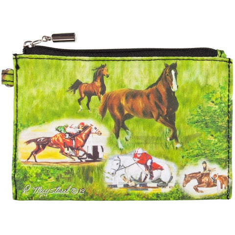 Horses Racing Collage Zippered Pouch
