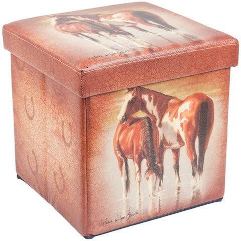 Horses In River Small Storage Footstool