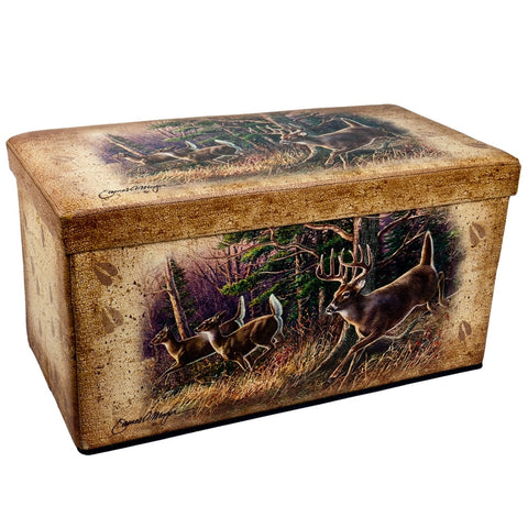 Deers Running In Forest Large Storage Footstool