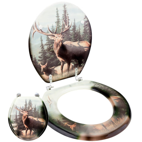 Elk In Forest Toilet Seat