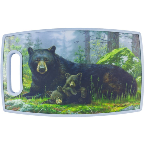 Bear Laying With Cub PPE Plastic Cutting Board