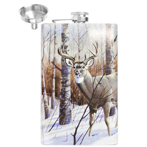 Deer In Winter Forest Stainless Steel Flask