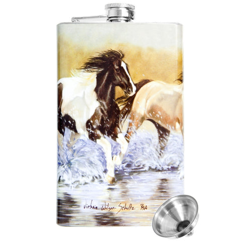 Horses Running In Water Stainless Steel Flask