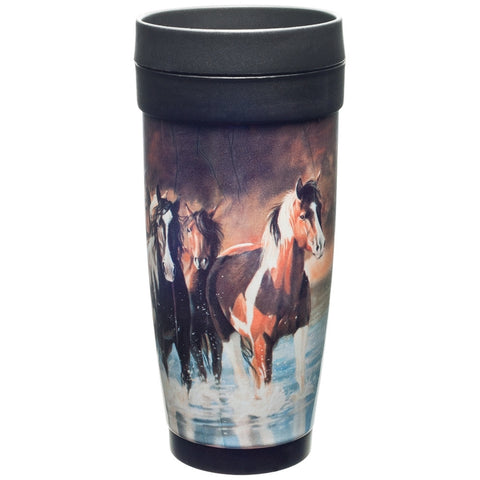 Horses Running In Water Plastic Travel Mug