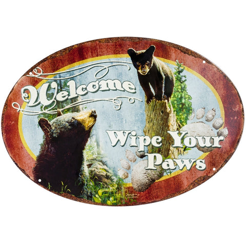 Bears Wipe Your Paws Tin Sign