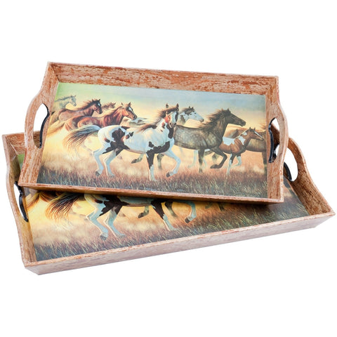Horses Running In Field Set Of Two Serving Trays