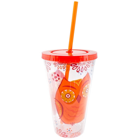 Owl Hoot Couture Double Wall Acrylic Tumbler With Straw