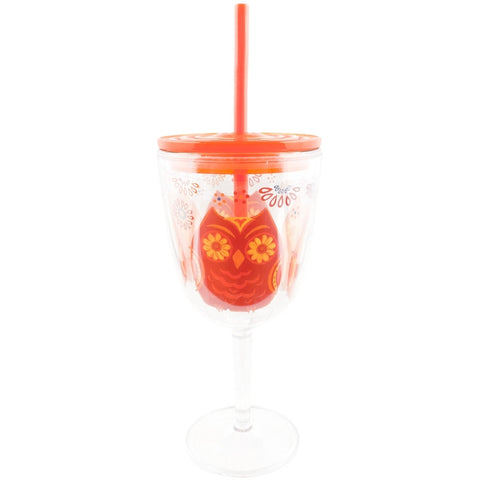Owls Hoot Couture Double Wall Acrylic Wine Glass With Straw