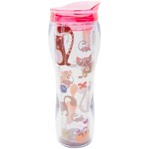 Cats with Toys Collage Insulated Travel Mug