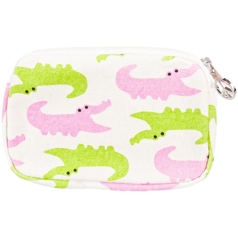 Alligator Pink & Green Chomping Wristlet
