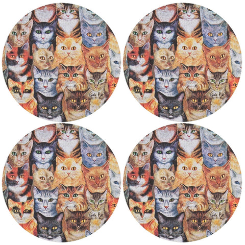Cats Everywhere Set of Four Sandstone Coasters