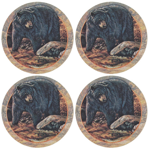Black Bear In Forest Set of Four Sandstone Coasters