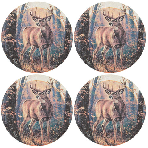 Deer Woodland Mist Set of Four Sandstone Coasters