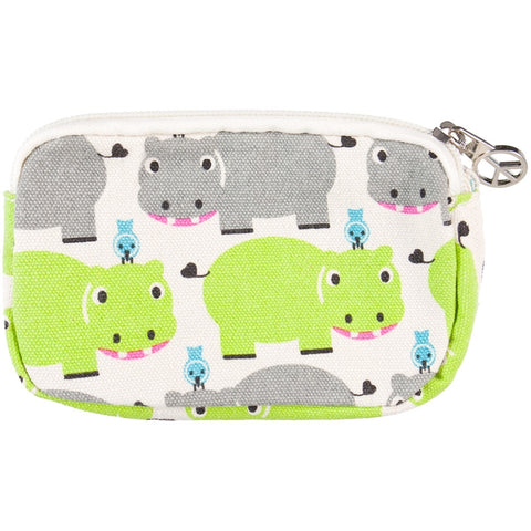 Hippopotamus With Bird Friend Wristlet