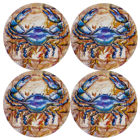 Blue Crab In Marsh Set of Four Round Coasters