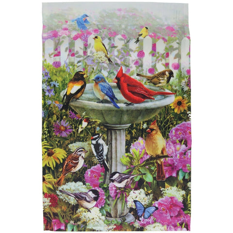 Variety Array of Birds in Birdbath Mini Flag