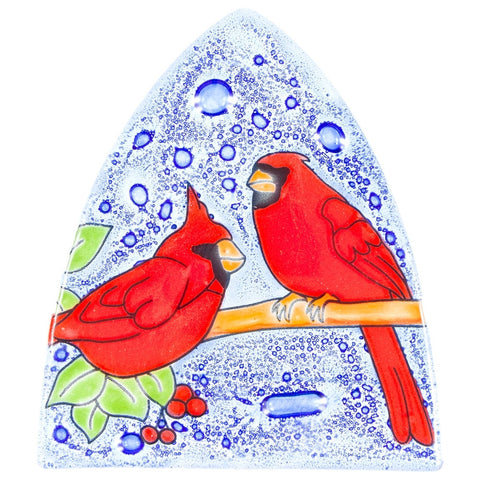 Cardinals Perched on Branch Fused Glass Nightlight Cover