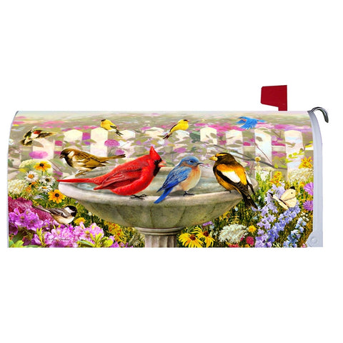 Array of Birds in Birdbath Mailbox Makeover
