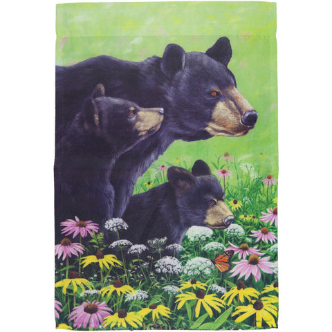 Bear Mother with Cubs in Filed Mini Flag