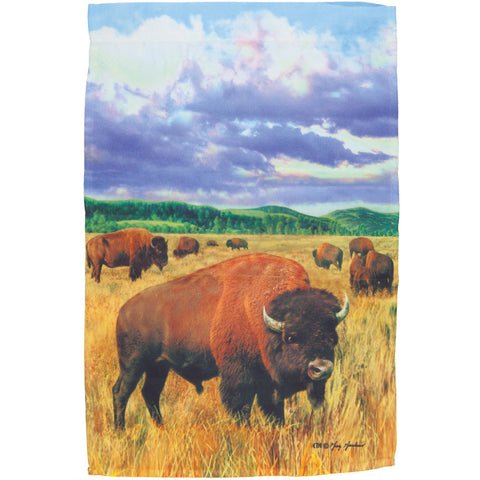 Bison Grazing in the Field Mini Flag