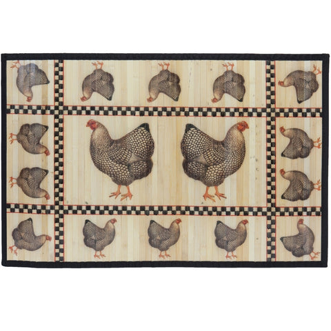 Chickens Everywhere Bamboo Split Rug