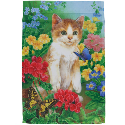 Kitten in Field With Butterflies Mini Flag