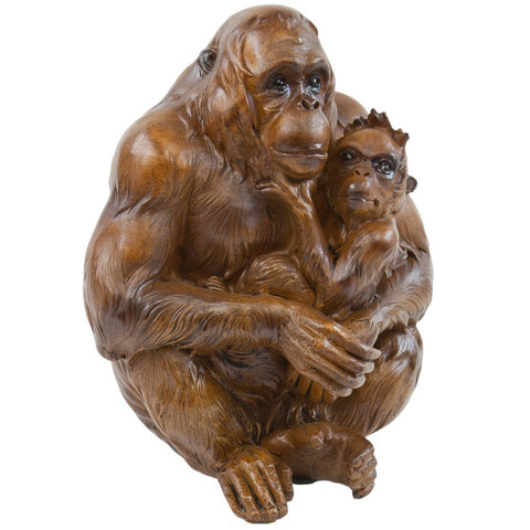Orangutans Hugging Faux Wood Figurine