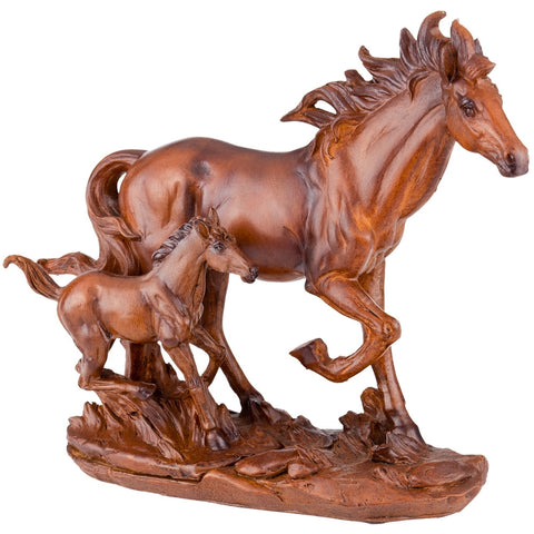 Horses Running Faux Wood Figurine