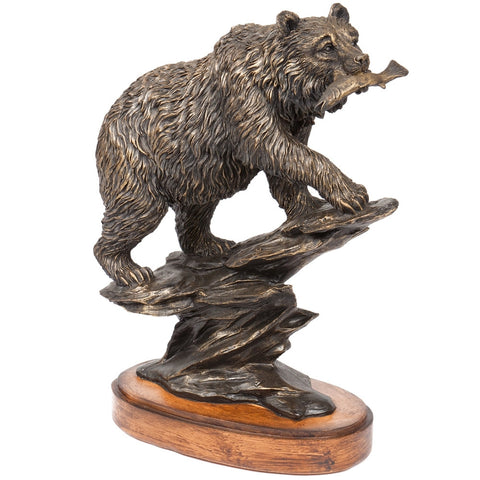 Bear on Rock Bronzed Figurine
