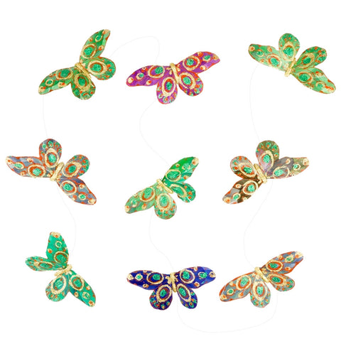 Butterfly Bodies Shades of Green Glitter Garland