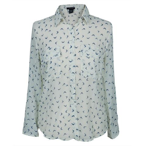 Birds Repeat All-Over Women's Long Sleeve Button Up Shirt