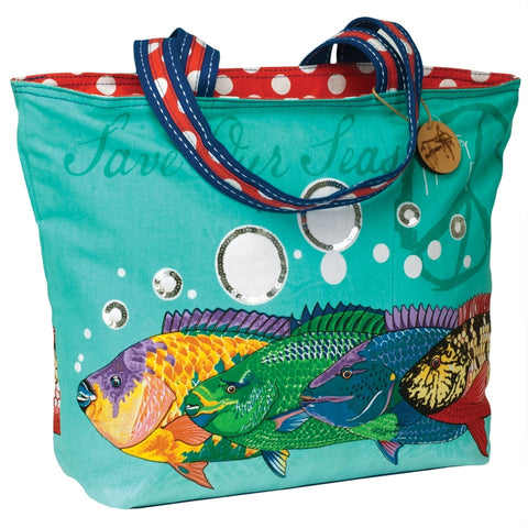Fish Save Our Seas Large Shoulder Tote