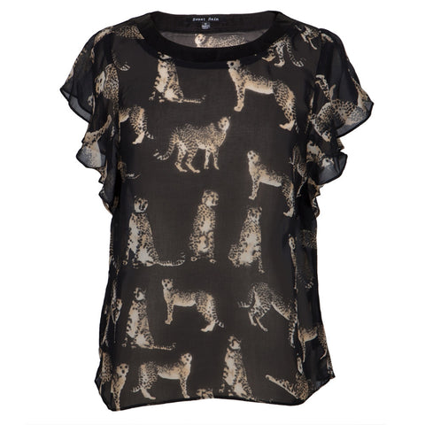 Cheetah All-Over Women's Short Sleeve Blouse