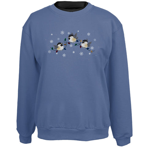 Chickadees Snowflake Lights Women's Crew Neck Sweatshirt