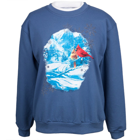 Cardinals in the Winter Snow Women's Crew Neck Sweatshirt